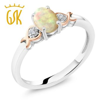 925 Sterling Silver and 10K Rose Gold Ring Opal with Diamond Accents