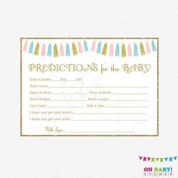 Gender Neutral Baby Shower, Predictions for Baby, Gender Reveal Baby Shower, Pink Blue Gold Tassels, Unisex Baby Shower, Boy Girl, TASPBG