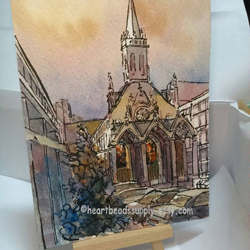 Stain glass in Church, original ink and wash watercolor Painting id1320686, 5 by 7, 5x7, not a print, Singapore, historical building