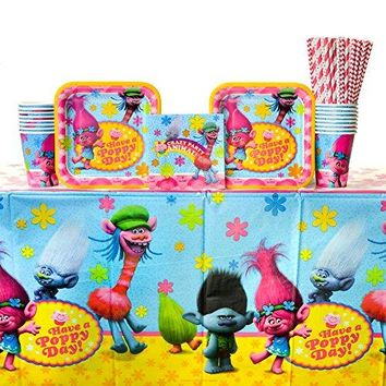 Trolls Party Supplies Pack For 16 Guests Including Paper Cups, Paper Dessert Plates, Paper Beverage Napkins, Paper Straws, and Plastic Table Cover (Bundle for 16)