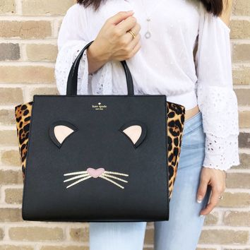 Kate spade Leopard Hayden Run Wild Cat Large Satchel Bag Crossbody