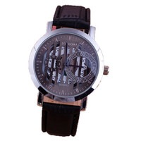 Mens Womens PU Leather Strap Mountaineering Sports Wrist Watch Best Gift