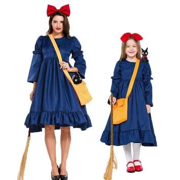 Umorden Japan Anime Kikis Delivery Service Costume Cosplay Girls Magic Costumes for Kids Adult Halloween Party Fancy Dress
