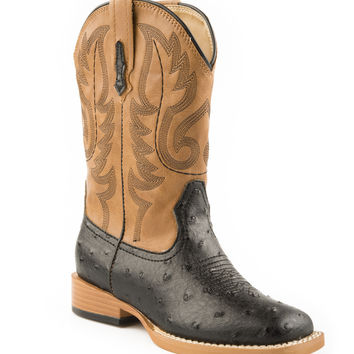 Roper Mens Western Sqtoe Faux Leathr Sole Boots Black Faux Ostrich Vamp Tan Shaft