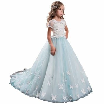 ZYLLGF Bridal Fluffy Short Sleeves Girls Flower Girl Dress 2017 Elegant Girl Pageant Dress Kids Party Dress With Flowers FP42