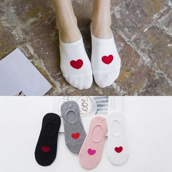 Women Funny 3D Print Socks Women Summer Cotton Loving Heart Invisible Liner Low Cut Socks Girls Harajuku Style High Quali Socks