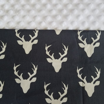 Personalized Woodland Nursery Bedding, Deer Antler Blanket, Baby Blanket, Buck Forest Blanket, Deer Antler, Hello Bear Collection
