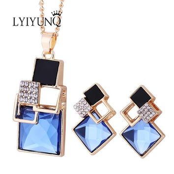 Fashion Brand Square Geometry Jewelry Sets Pandent Necklace Stud Earrings Crystal Magic Space Jewelry Set For Women