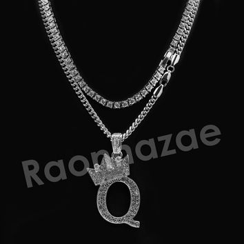 Iced Out King Crown Q Initial Pendant Necklace Set.