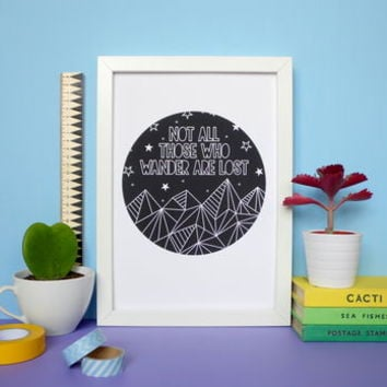Geometric Mountains Quote Print