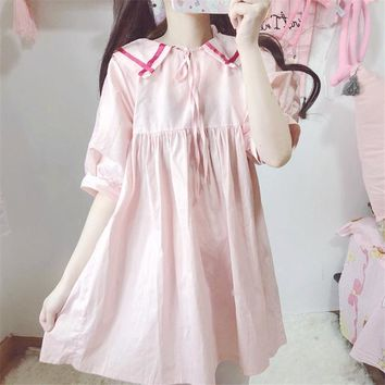 Japanese Lolita soft sister Harajuku Sweet Loose Thin Women Dress Lace Collar Summer vadim mini Doll dress