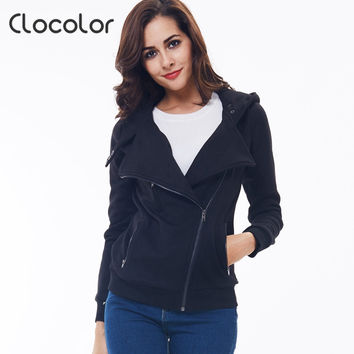 women coat  Solid Color Hooded Jacket Long Sleeve Women's Hoodie Zipper Fall Winter women coat
