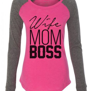 "Womens ""Wife Mom Boss"" Long Sleeve Elbow Patch Contrast Shirt"