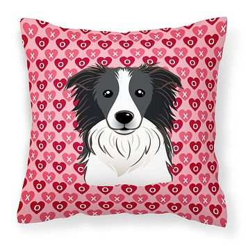 Border Collie Hearts Fabric Decorative Pillow BB5311PW1818