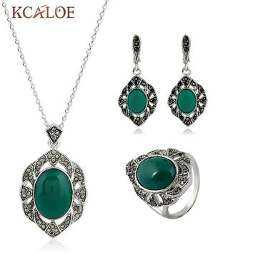 KCALOE Green Jewelry Sets Natural Stone Pendant Necklace Earrings Ring Antique Silver Color Vintage Rhinestone Wedding Jewelry