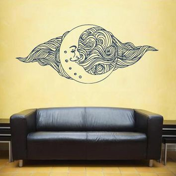 ik1556 Wall Decal Sticker month moon night sky stars living room bedroom