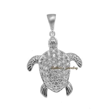 SOLID 14K WHITE GOLD SPARKLY HAWAIIAN SEA TURTLE BLING CZ CHARM PENDANT 17.40MM