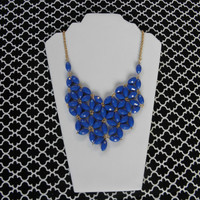 Daisy Bubble Bib Style Necklace - Royal Blue
