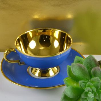 RW Bavaria Teacup Matching Saucer Rudolph Wachter Germany 9176 Blue Gold Interior & Trim