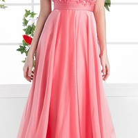 Cinderella Divine CJ218 Coral Cap Sleeves Applique Illusion Bodice A-Line Evening Gown (1 Colors Available)