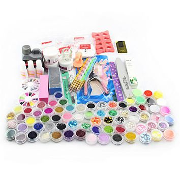 New Nail Art Tools Home Use UV GEL White Lamp & 12 Color UV Gel Nail Art Tool Kits manicure set Be gift for Girl friend