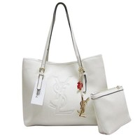 YSL Women Shopping Leather Chain Satchel Shoulder Bag Satchel Crossbody White G-MYJSY-BB