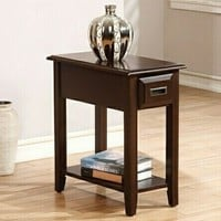 Flin collection dark cherry finish wood chair side end table with drawer