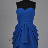 Custom Royal Blue Short Bridesmaid Dresses 2014 Prom Dresses Hot Homecoming Dress Fashion Party Dress Bridesmaid Dress Short Ball Gown