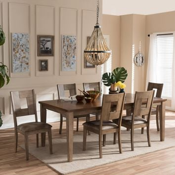 "Baxton Studio Gillian Shabby Chic Country Cottage Weathered Grey and ""Oak"" Brown 2-Tone Finishing Wood Veneer Top 7-Piece Extendable Dining Set  Set of 1"