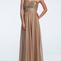 Strapless Chiffon Prom Dress with Sequin Bodice - David's Bridal