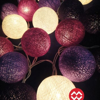 Battery Powered LED Bulbs 20 Mixed Purple Tone Cotton Balls Fairy String Lights Party Patio Wedding Floor Hanging Gift Home Decor 4 Metres