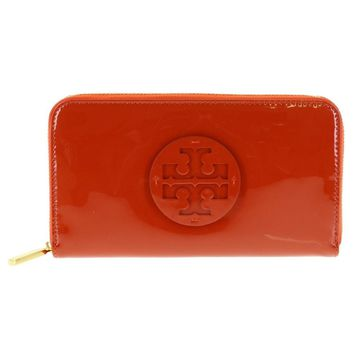 Tory Burch Stacked Patent Zip Around Continental in Equestrian Orange