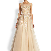 Teri Jon - Illusion Neck Tulle Gown