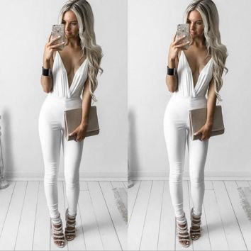 White V-neck sleeveless Halter neck  Jumpsuit  B0016479