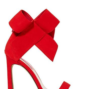 Betsey Johnson Frisky Bow Leather Heel - Red