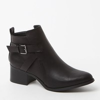 Mia Nahira Buckled Faux Leather Booties - Womens Boots - Black