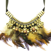 NECKLACE / FEATHER / BIB / HOMAICA STONE / METALLIC BEAD / CHAIN / TIED CLOSING / 16 INCH LONG / 5 INCH DROP / NICKEL AND LEAD COMPLIANT