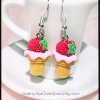 Strawberry Ice Cream Earrings - Cupcake Cute Kawaii Miniature - Sprinkles Heart Cup Cake Frosting - Mini Miniature Jewelry Sweet Colorful