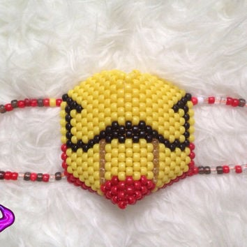 Iron Man Kandi Mask, Surgical Kandi Mask, Iron Man Cosplay Mask, Rave Gear, EDM Mask, Superhero costume, Pony Bead Mask, Rave Wear, EDC
