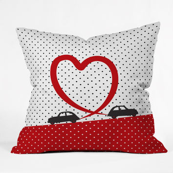 Belle13 Polka Dot Car Love Throw Pillow