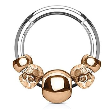 BodyJ4You 16G (1.2mm) Nose Hoop Seamless Hinged Segment Ring Rose Goldtone Disco Beads Surgical Steel Septum