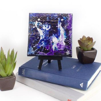 Small Blue & Purple Abstract Art