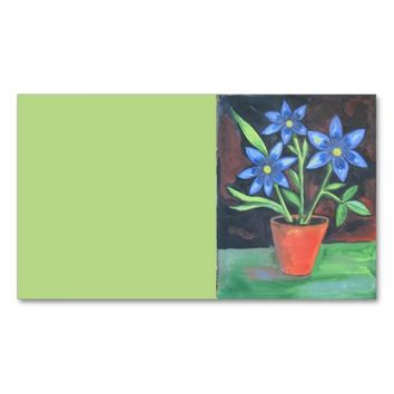 Blue Flowers Double-Sided Standard Business Cards (Pack Of 100)