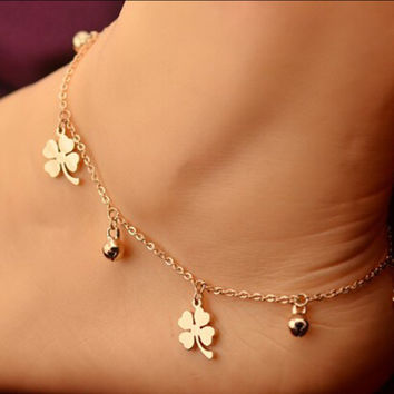 Stylish Jewelry Gift Cute Ladies Shiny New Arrival Sexy Korean Titanium Leaf Anklet [6768768391]