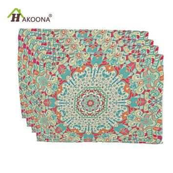 HAKOONA 4 Pieces Placemats Geometric Art Lines Printed Table Napkins Cotton Linen Fabric Table Decoration Tea Towels 42*32cm