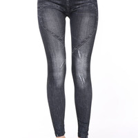 Black Sweetheart Accent Skinny Pants Leggings