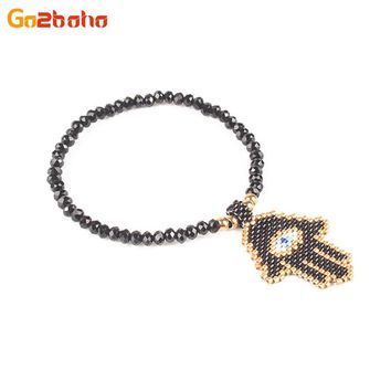 Go2boho Mysterious Fatima Hands Crystal Bead Bracelet MIYUKI Seed Beads Evil eye Bracelet for Women Fashion Jewelry Men pulseira