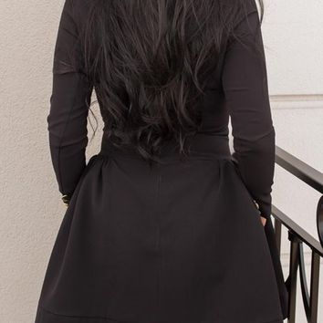Black Studded Double Breasted Pleated Turndown Collar Long Sleeve Skater Cute Mini Dress