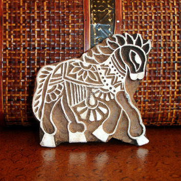 Horse Stamp: Hand Carved Wood Stamp, Indian Printing Block, Ceramic Tile Pottery Stamp, India Wall Decor