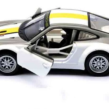 1:32 Scale Alloy Diecast Metal Racing Car Model For Porsche 911 RSR Collection Model Pull Back Toys Car With Sound&Light
